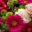 Two wedding rings on a bridal colorful bouquet — Stock Photo #74450935