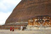 Monks Walking Pass Huge Stupa, Sri Lanka — Stockfoto