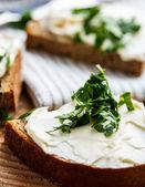 Sandwiches mit geschmolzenem Käse und Kräutern — Stockfoto