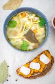 Soup with noodles — Stock Photo