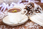 Closeup of hot chocolate cocoa , the perfect winter comfort food — Stock Photo