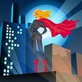 Super woman over the city — Vetorial Stock