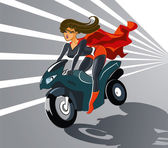 Super woman on motorcycle — Vetor de Stock