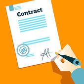 Hand signs contract — Stock Vector