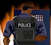 Policista se štítem. Nepokoje, požár, terorismus — Stock vektor
