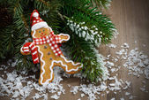 Gingerbread man in the snow and spruce branches — Stock Photo