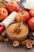 Ingredients for baking apple pie, vertical — Stockfoto