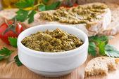 Pesto sauce and ciabatta — Photo