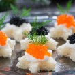Christmas appetizers with bread and caviar, vertical, close-up,  — Stock Photo #55294099