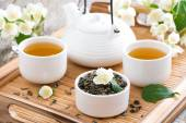 Tea ceremony - green tea with jasmine — Foto Stock