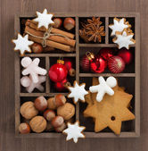 Wooden box with Christmas symbols, top view — Stock Photo