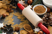 Christmas baking - ingredients and cookies, selective focus — Stock Photo