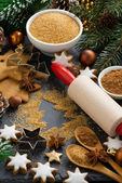 Christmas baking - ingredients and cookies, vertical — Stock Photo