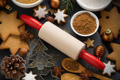 Cookies and ingredients for Christmas baking, top view — Stock Photo