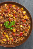 Mexican dish chili con carne, top view close-up — Photo