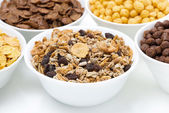 Granola and various breakfast cereals — Stock Photo