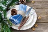 Christmas table setting on a wooden background, horizontal — Stock Photo