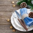 Christmas table setting on a wooden background, horizontal — Stock Photo #58574439