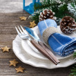 Christmas table setting on a wooden background — Stock Photo #59342079