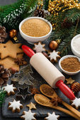 Ingredients for Christmas baking and cookies, vertical — Fotografia Stock