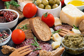 Assortment of delicious antipasti, close-up — Stock Photo