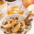 Oatmeal with apples, raisins, cinnamon and ingredients on white — Stock Photo #60509107