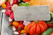 Assorted fresh seasonal vegetables and a wooden nameplate — Stock Photo