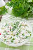 Cold soup with fresh vegetables and kefir (okroshka), vertical — Stock Photo