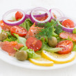 Fresh salad with salted salmon, close-up — Stock Photo #65753539