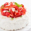Cake with whipped cream and strawberries, close-up — Stock Photo #67821907