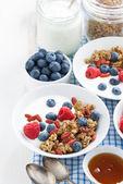 Breakfast with granola, berries, honey and yogurt on a white woo — Stock Photo