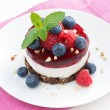Delicious cake with fruit jelly and fresh berries on a plate — Stock Photo #68262953