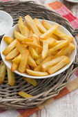 Fried french fries with tomato sauce, vertical, top view — Stock Photo