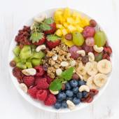 Berries, fruits, nuts and granola — Stockfoto