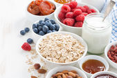 Cereal and various delicious ingredients for breakfast — Stock Photo