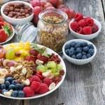Ingredients for a healthy breakfast - berries, fruit, muesli — Stock Photo #71426919