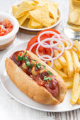 Hot dogs with tomatoes, onions and french fries, vertical — Stock Photo