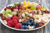 Ingredients for a healthy breakfast in plate — Stock Photo