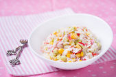 Fresh vegetable salad with corn — Stock Photo