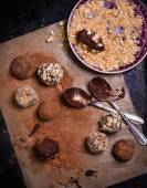 Assorted dark chocolate truffles — Stock Photo