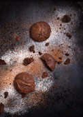 Homemade chocolate cookies on dark background — Stock Photo