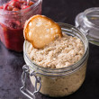 Mushroom pate and cranberry relish in a jars — Stock Photo #66733675