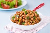 Stewed white beans in tomato sauce — Stock Photo