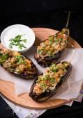 Imam Bayildi. Eggplants stuffed with vegetables — Stock Photo