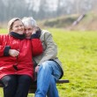 Happy senior couple in love. Park outdoors. — Stock Photo