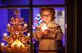 Cute toddler boy standing by window at Christmas time and holdin — Stock Photo