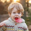 Little caucasian toddler boy of two years eating big candy — Stock Photo #52858073