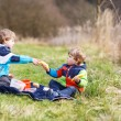 Two little sibling boys having picnic near forest lake, nature — Stock Photo #52858539
