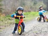 Two active little sibling boys having fun on bikes in forest — Stock Photo