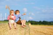 Two little friends and friends sitting on hay stack  — Stock Photo